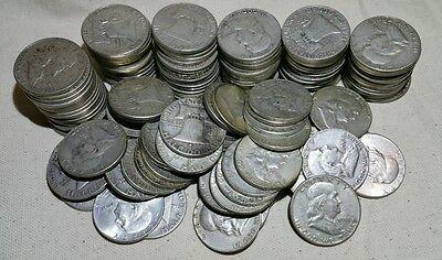 LOT OF 100 SILVER FRANKLIN HALF DOLLARS RANDOM DATES 1948 1963 !