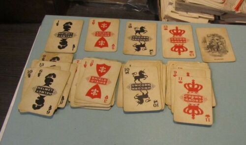 Antique European Rumme Rummy 50 Card Game Unicorns Crowns Shields Helmets