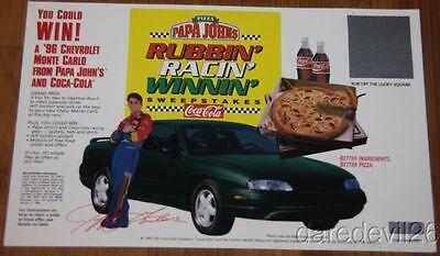 1995 Jeff Gordon Papa Johns Pizza Coca Cola Rubbin Racin Winnin Flyer Handout