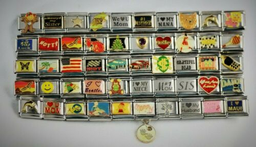 Italian Charms 50 Assorted Stainless Steel Wholesale Lot 9mm (C50-1300) variety