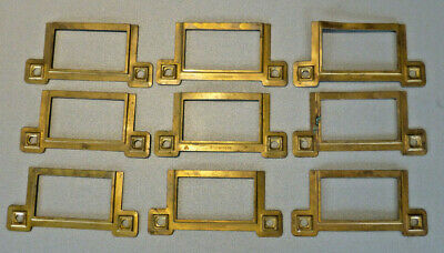 Vintage Art Deco Brass Filing Cabinet Drawer / Chest Card/Label Holder / Frame 9