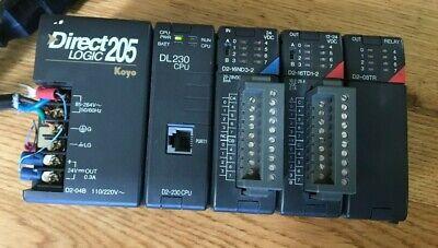 Direct Logic 205 D2-04b W Dl230 Cpu D2-16nd3-2 D2-16td1-2 D2-08tr Relay Out