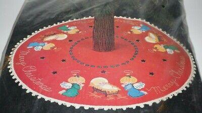 """Vtg., Bucilla, """"Christmas Angels"""", Felt, Jeweled, Christmas Tree Skirt Kit 48772"""