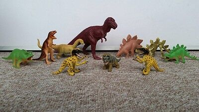 Toy Dinosaurs - Job Lot x10 Prehistoric Figures Plastic Assorted Bundle Medium