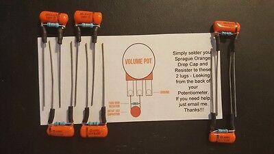 6x Sprague ORANGE DROP Treble Bleed Kits Mod .0015uf  150k - Strat, Tele, others