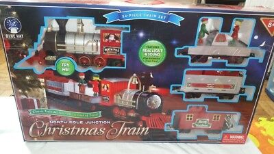 North Pole Junction Christmas Train Set, 34 Piece + 20 Feet of Track