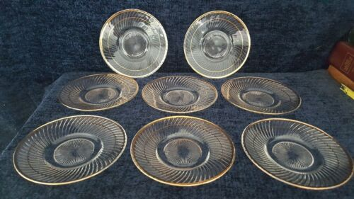 Set of 8 Federal Glass DIANA Bread & Butter Plates - Clear w/ Gold Trim - NICE!