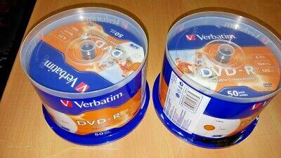 100 DVD Rohlinge Verbatim 4,7 GB, 16x, bedruckbar, Spindel