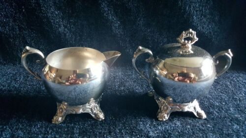VINTAGE SILVERPLATE CREAMER AND SUGAR BOWL WITH LID - EXCELLENT!