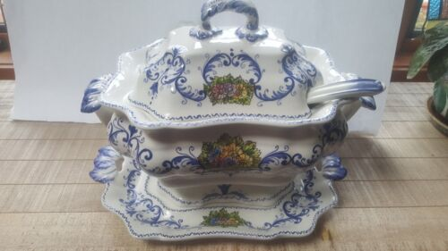 LARGE SOUP TUREEN W/SOUP LADLE & UNDER PLATE JUST BEAUTIFUL!!