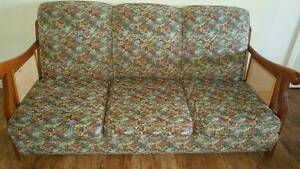 VINTAGE ANTIQUE 1940'S TIMBER & CANE TAPESTRY LOUNGE: Dubbo Dubbo Area Preview