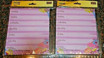 New 3m Post-it Notes Weekly Planner Scheduling Sticky Notes Memo 2 Pks Of 25