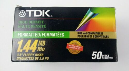 "50 TDK High Density 3.5"" Floppy Disks 1.44MB Black Genuine IBM"