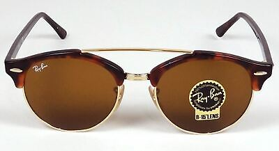 RAY BAN CLUBMASTER CLUB ROUND GOLD TORTOISE B-15 ICONS SUNGLASSES RB4346 (Ray Ban Icons)