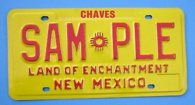 "1980'S NEW MEXICO AUTO SAMPLE LICENSE PLATE "" SAM * PLE "" CHAVES COUNTY ROSWELL"