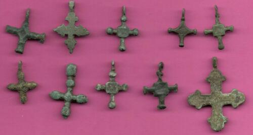 Lot of 10 Russia Bronze Ortodox Cross ca 1050 11-12th Viking Byzantine 708