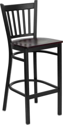Black Vertical Back Metal Restaurant Barstool With Mahogany Finish Wood Seat