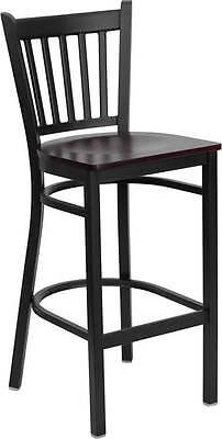 Lot Of 6 Black Vertical Back Metal Restaurant Bar Stool - Mahogany Wood Seat
