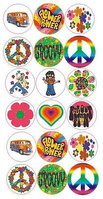 Flower Power GROOVY Label Sticker Decal CRAFTS Teachers SCHOOL Made In USA #D122 Flower Power Decals