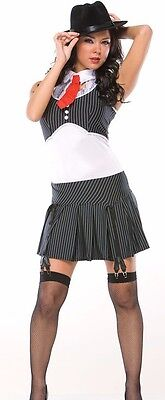 Womens Sexy Gangster Costume 20s Pinstripe Flapper Adult Black White Fancy Dress - Gangster Costumes Female