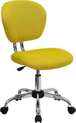 Mid Back Office Desk Chair Yellow Mesh Upholstery With Chrome Accents