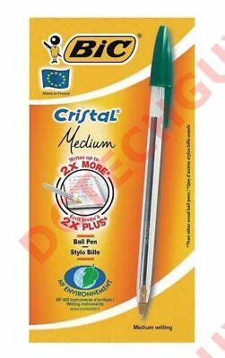 D5 Lot10 Bic Cristal Crystal Dark Green Ball Point Pen France Xtrabold 1.6mm