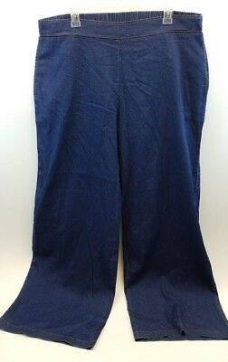 Wendy Williams Sz 1X Mid-tone Denim Wide-Leg Light Pull-On Knit Pant 594-078