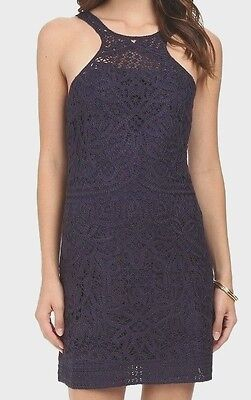 NWT Lilly Pulitzer Jaimie Knit Lace Shift Dress NAVY SMALL 50% OFF FREE SHIPPING