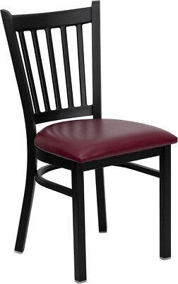 Metal Vertical Slat Restaurant Chair With Burgundy Vinyl Seat