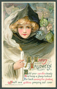 Vintage Hard to Find Embossed Winsch/Schmucker Halloween Postcard Witch Goblins