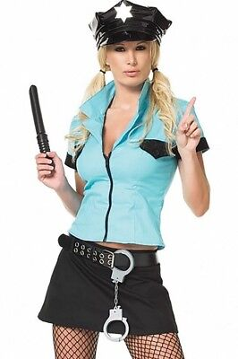 HALLOWEEN Officer Frisk me costume mini skirt zipper top vinyl hat baton Sz S - Mini Me Costume