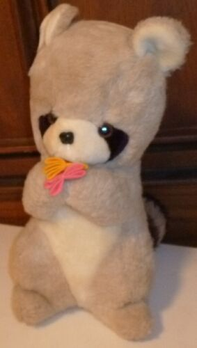"Vintage 1976 GUND Plush RACCOON with flowers stuffed animal 12"", made in Japan"