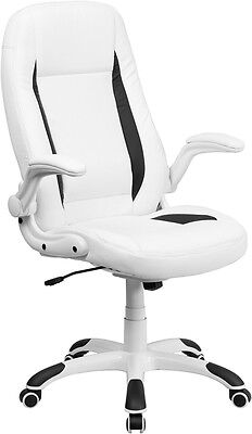 High Back White Leather Executive Swivel Office Desk Chair With Flip-up Arms