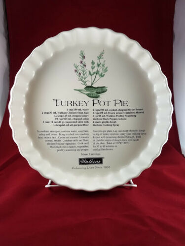"""WATKINS COLLECTABLE """"TURKEY POT PIE"""" PLATE With RECIPE"""
