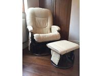 Glider, Rocking nursing chair with footstool