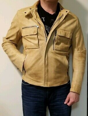FORME d'expression DESIGNER DISTRESSED LAMBSKIN Golden Yellow Jacket Made ITALY