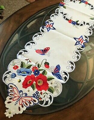 4th Of July Table Runner (Patriotic 4th of July Decor Table Runner Butterfly Stars Red White Blue 68