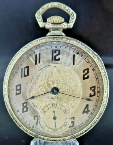 Antique Solrex 17 Jewel Manual Wind Pocket Watch Swiss 25 Year White Gold Filled