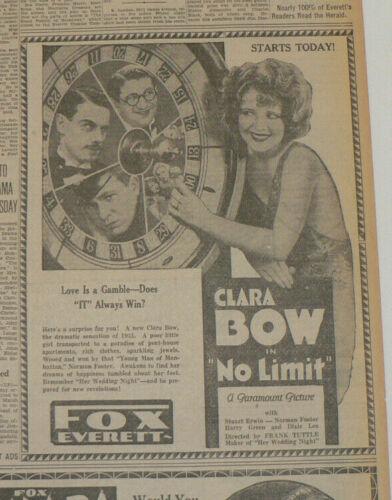 """Clara Bow 1931 Original Newspaper Movie Ad, """"No Limit"""""""