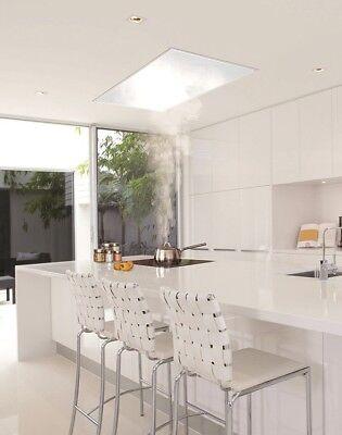 Quadra T3 Stunning White Glass Ceiling Cooker Hood S/S External Motor -NEW RANGE