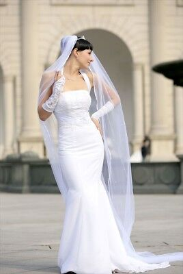 Bridal Veil Diamond (Off)White 2 Tier Cathedral Length Scattered Rhinestones (Diamond White Veils)