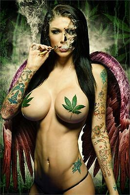 GANJA GIRL - SEXY PIN UP POSTER - 24x36 WEED POT LEAF MARIJUANA SMOKING 51781