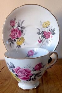 VINTAGE Royal Vale China Duo Tea Cup & Saucer  Pink & Yellow Rose