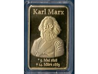 1 Oz GOLD PLATED COMMEMORATIVE ART BAR *** KARL MARX *** IN A CAPSULE