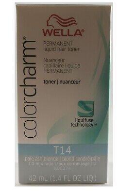 - Wella Color Charm Permanent Liquid Toner T14 Pale Ash Blonde 1.4 oz /42ml