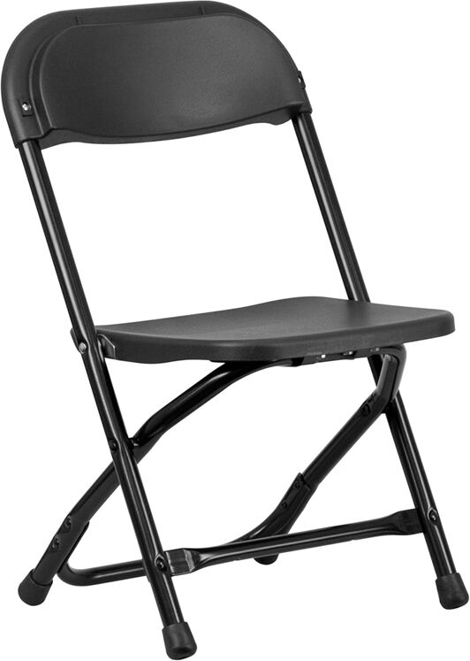 Lot Of 10 Kids Size Black Plastic Seat & Back Steel Frame Folding School Chairs