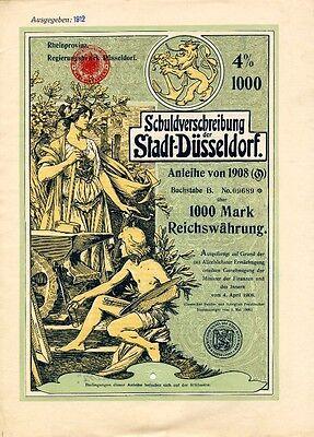 Düsseldorf histor. deko Anleihe 1908 Jugendstil Düsseldorfer Malerschule Schmidt