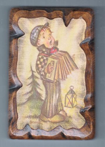 HUMMEL GOEBEL LITTLE BOY WITH ACCORDION ON DECOUPAGE 4 X 6 INCH WALL HANGING