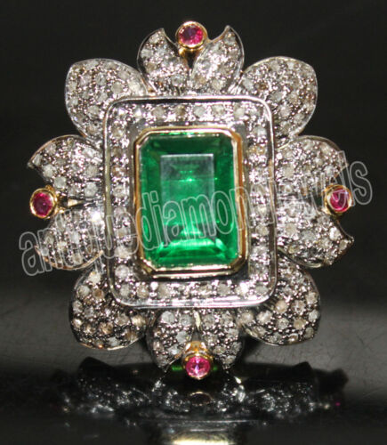 3.50ct ROSE CUT DIAMOND EMERALD & RUBY.925 SILVER WEDDING ANNIVERSARY RING