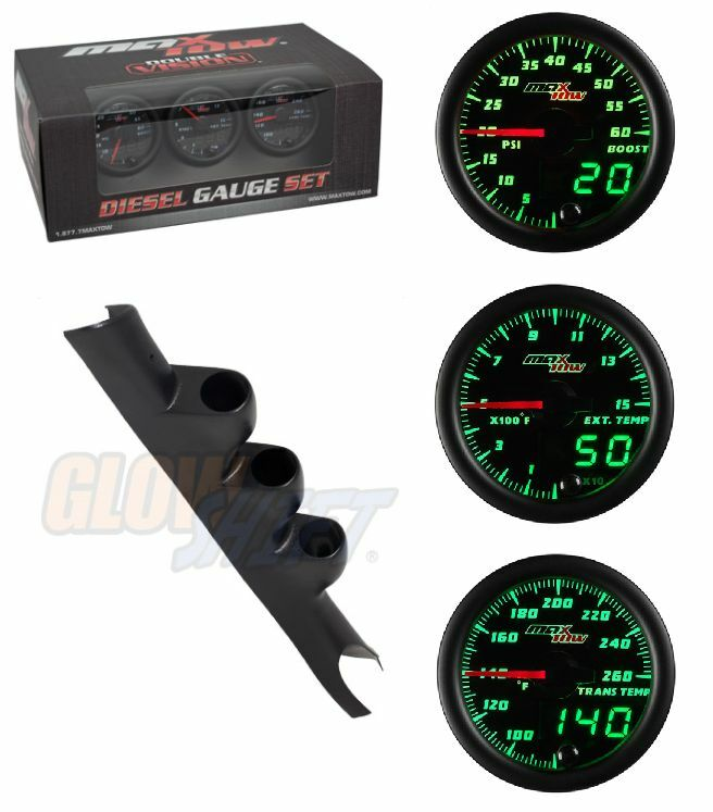 GSMaxTow DV Diesel Gauge Set-Boost,Pyro,TransTemp &Black Pod for 03-09 Cummins